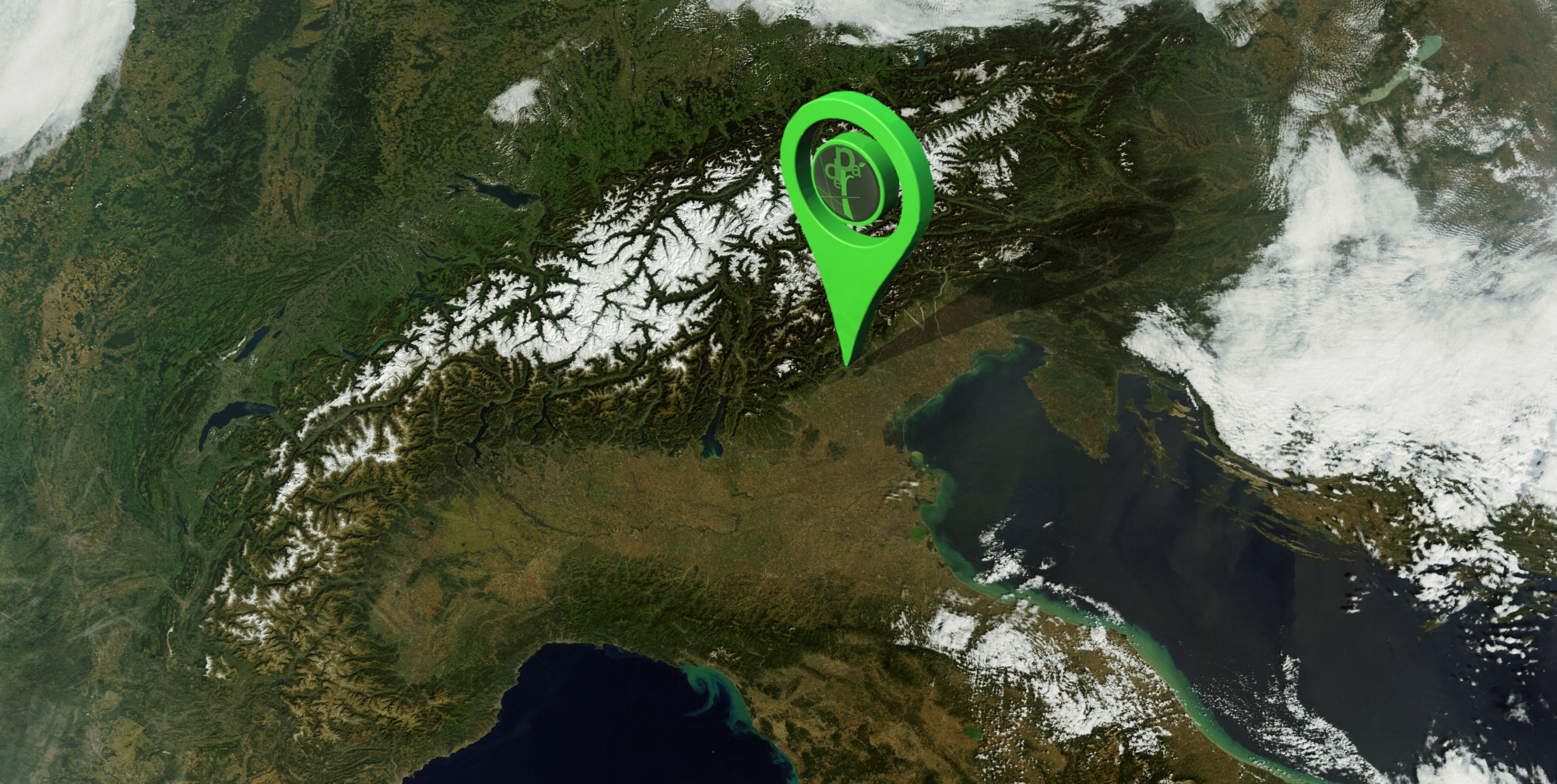 Foto satellitare nord italia con Geotag e logo aziendale