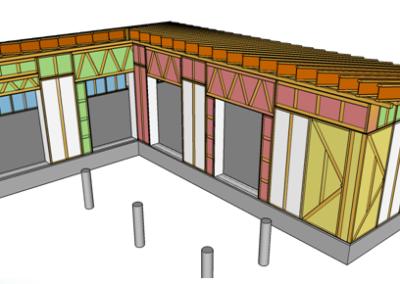 Disegno struttura con pannelli in paglia - Fase 1